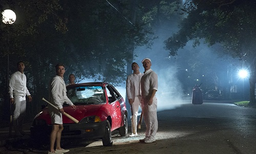"SCREAM QUEENS: Pictured L-R: Lucien Laviscount as Earl Grey, Aaron Rhodes as Roger, Austin Rhodes as Dodger, Evan Paley as Caulfield and Glen Powell as Chad in the ""Chainsaw"" episode of SCREAM QUEENS airing Tuesday, Sept. 29 (9:00-10:00 PM ET/PT) on FOX. ©2015 Fox Broadcasting Co. Cr: Hilary Gayle/FOX."